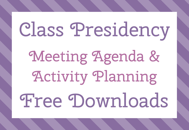 Class Presidency Meeting Agenda U0026 Activity Planning Free Downloads   The  Personal Progress Helper